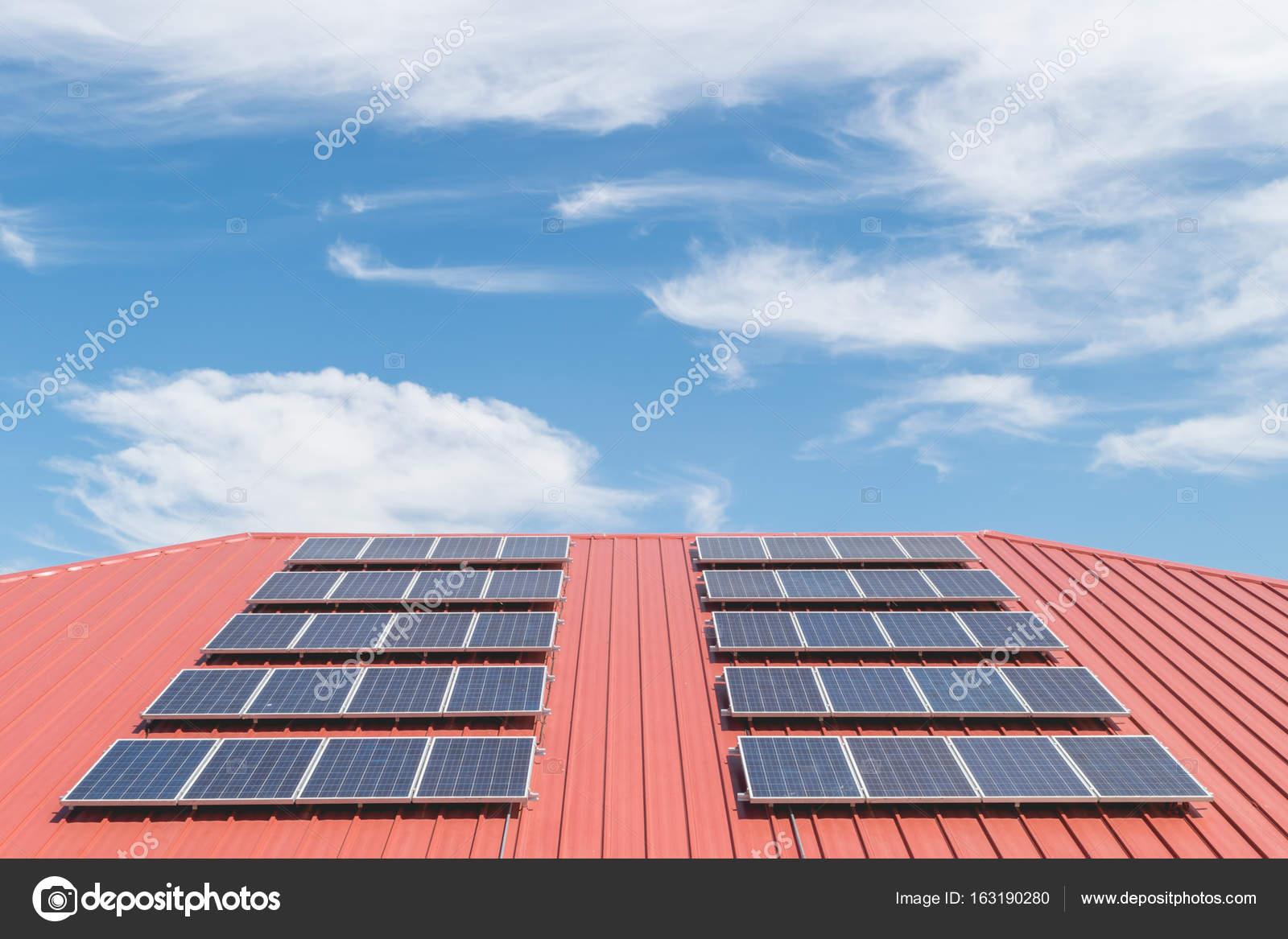 Solar panel pattern on red roof tile. — Stock Photo © narupon ...