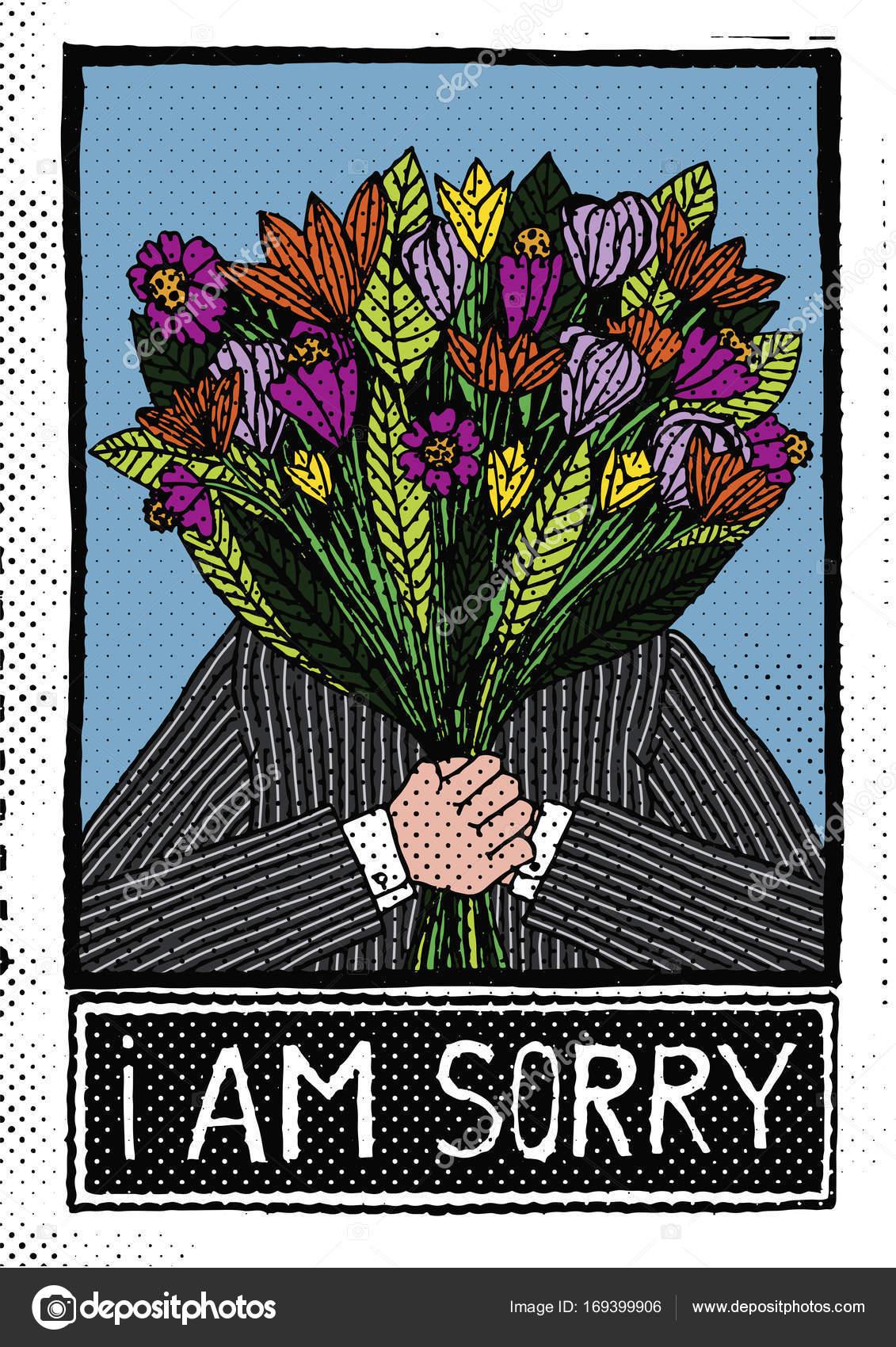 Mann Hält Blumen Und Sagen Tut Mir Leid Stockvektor