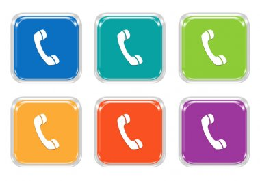 Set of squared colorful buttons with phone symbol