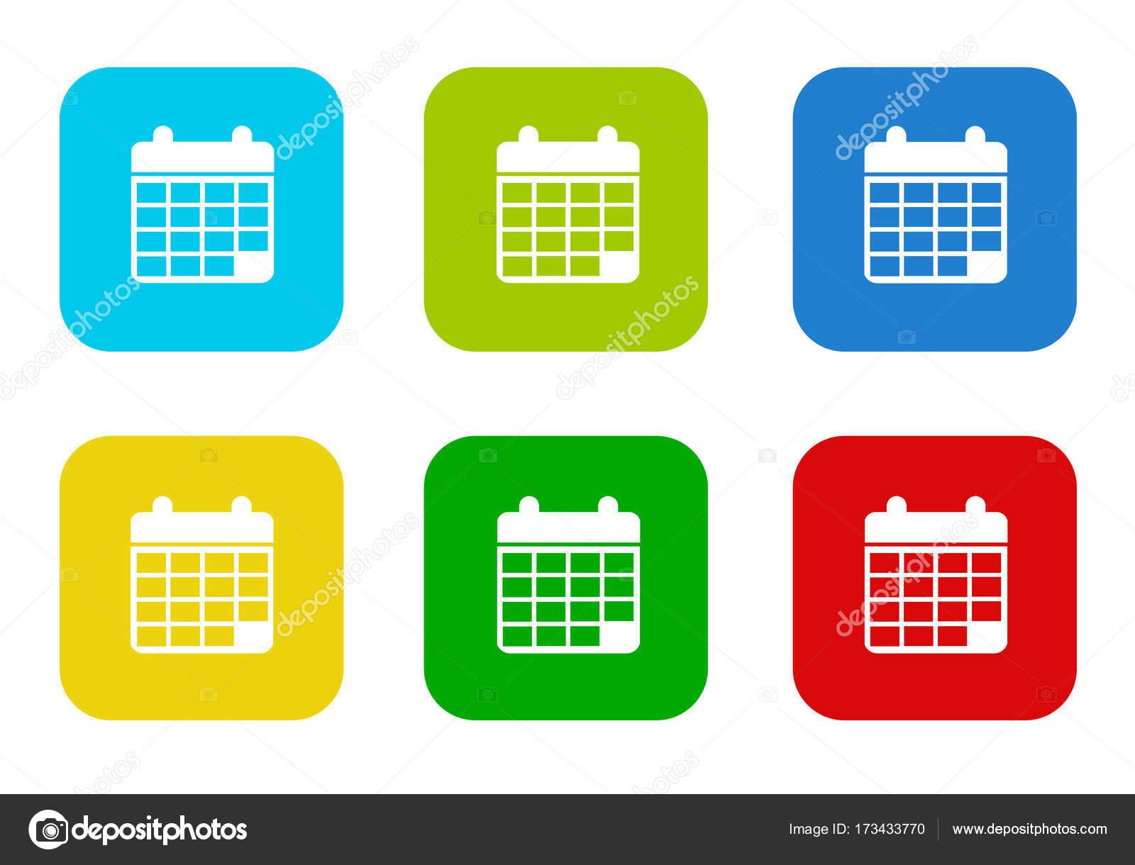 Simbolo De Calendario.Insieme Delle Icone Piane Quadrato Colorate Arrotondati Con