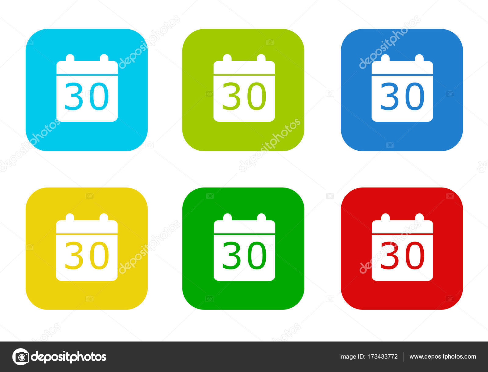 Set Rounded Square Colorful Flat Icons Calendar Symbol Blue Green