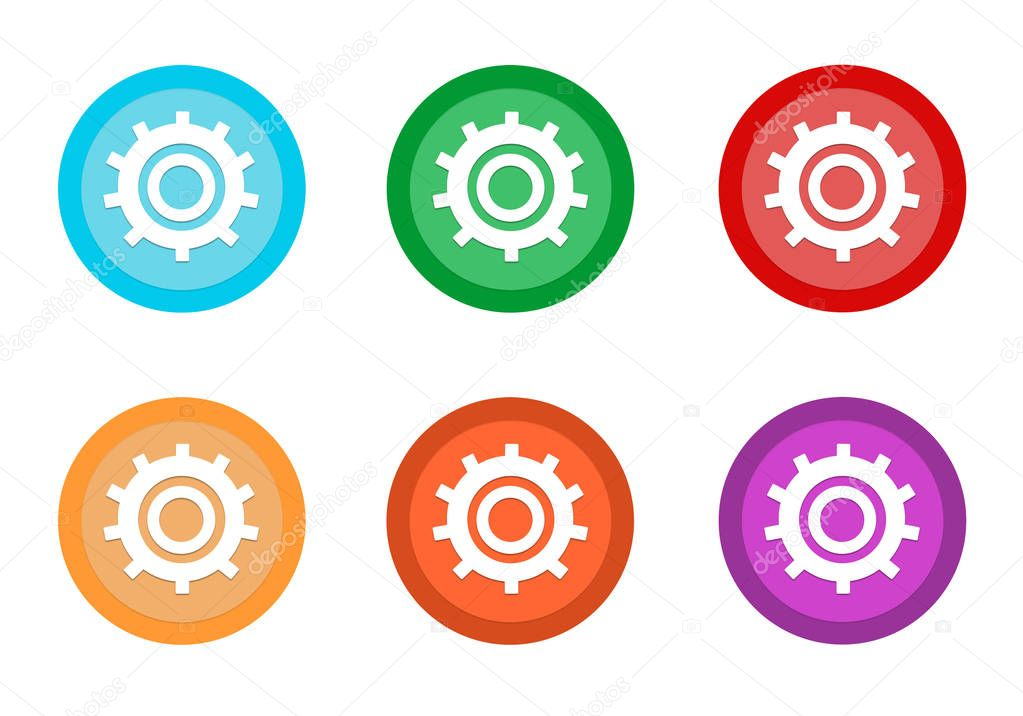 Set of rounded colorful buttons with gears symbol in blue, green, red, yellow, pink and orange colors