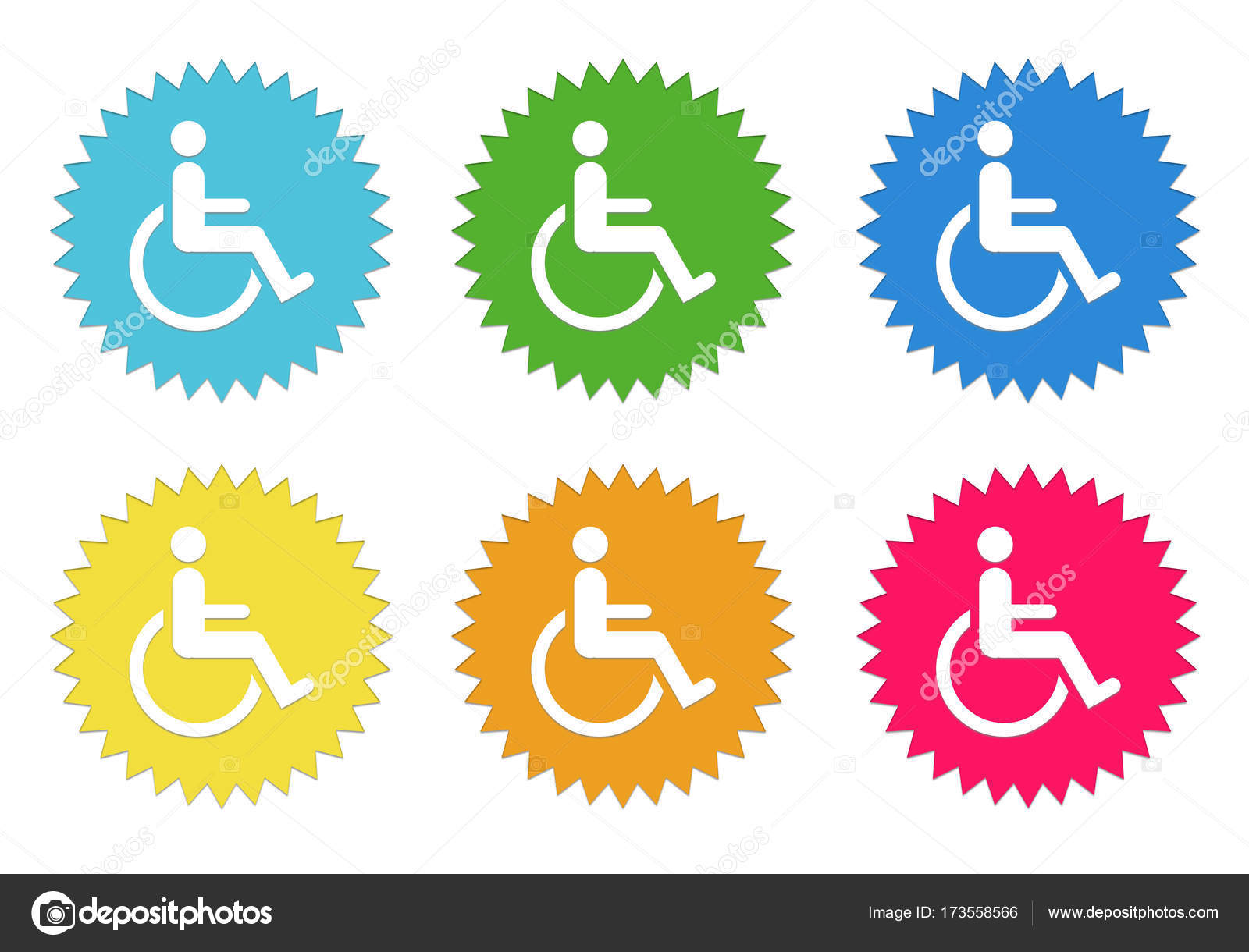 Reihe Von Runden Bunten Aufkleber Icons Mit Behinderten