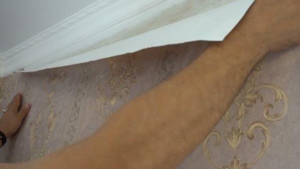 il processo di incollaggio di carta da parati sulla parete, la mano delloperaio è lisce sfondi