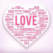Worte der Liebe in Herzform auf weißem Hintergrund.