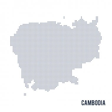 Vector dotted map of Cambodia isolated on white background .