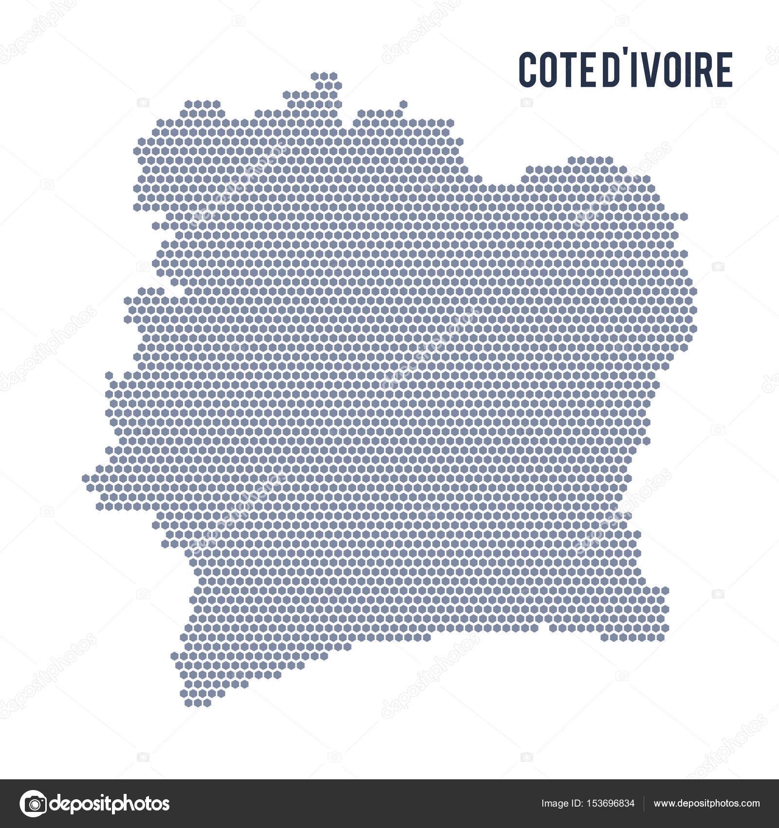 Mappa Di Esagono Di Vettore Della Costa Davorio Su Sfondo Bianco
