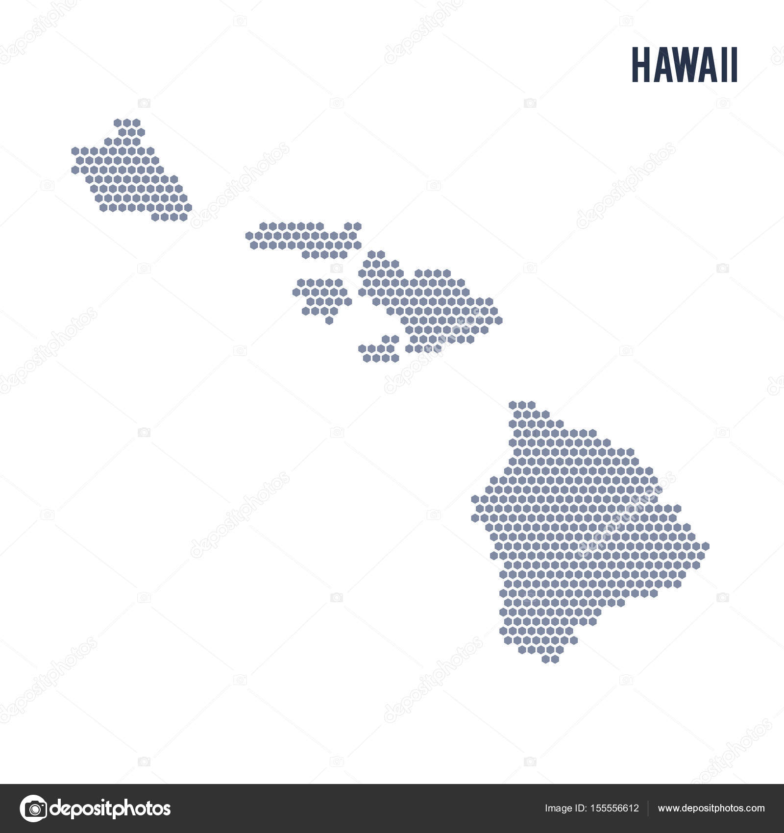 Vector hexagon map of State of Hawaii on a white background — Stock