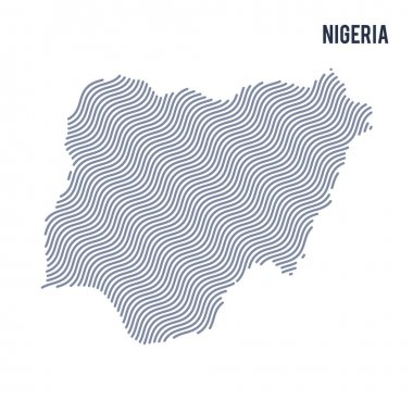 Vector abstract wave map of Nigeria isolated on a white background. Travel vector illustration.