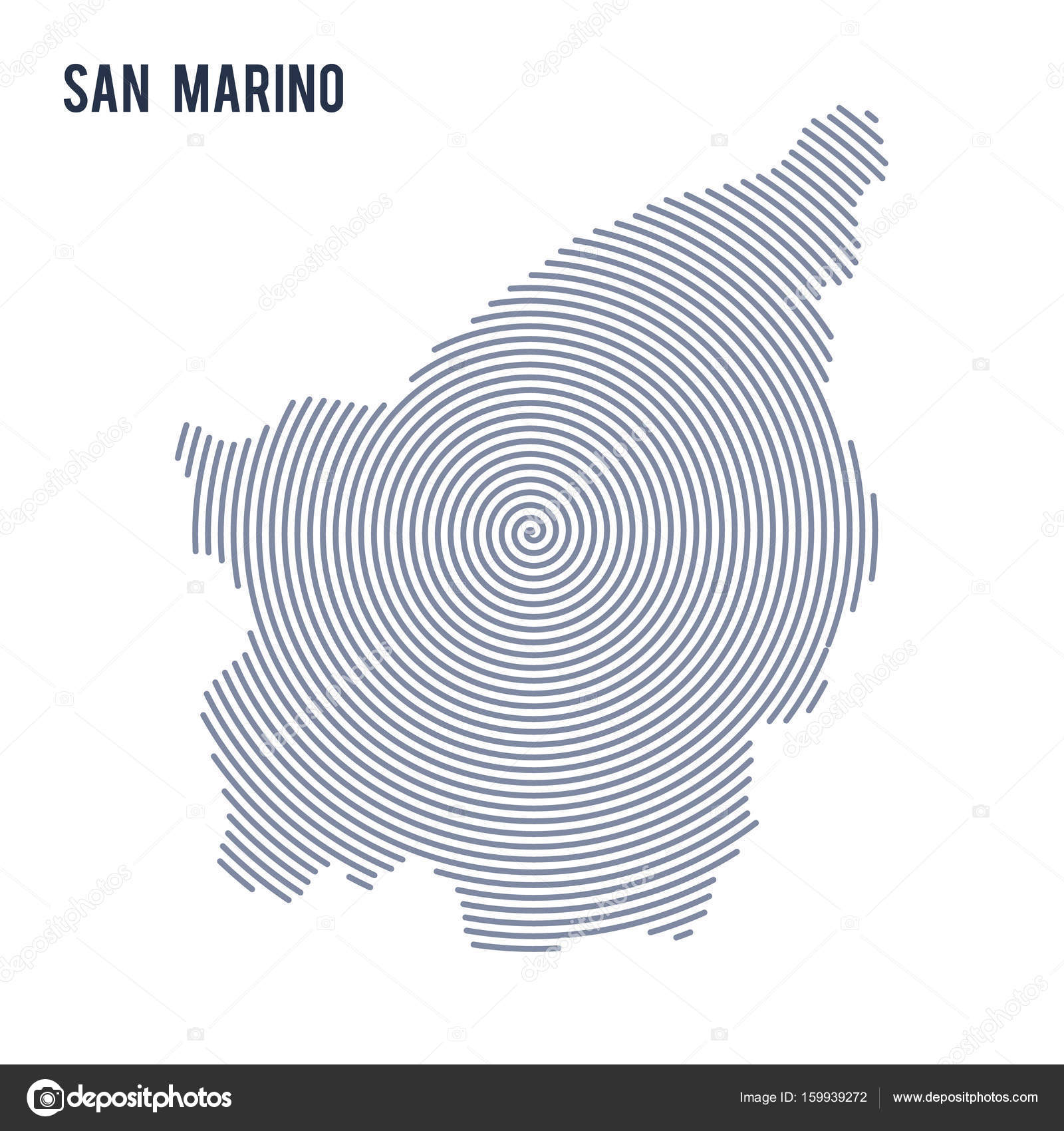 Vector Abstract Hatched Map Of San Marino With Spiral Lines - San marino map download