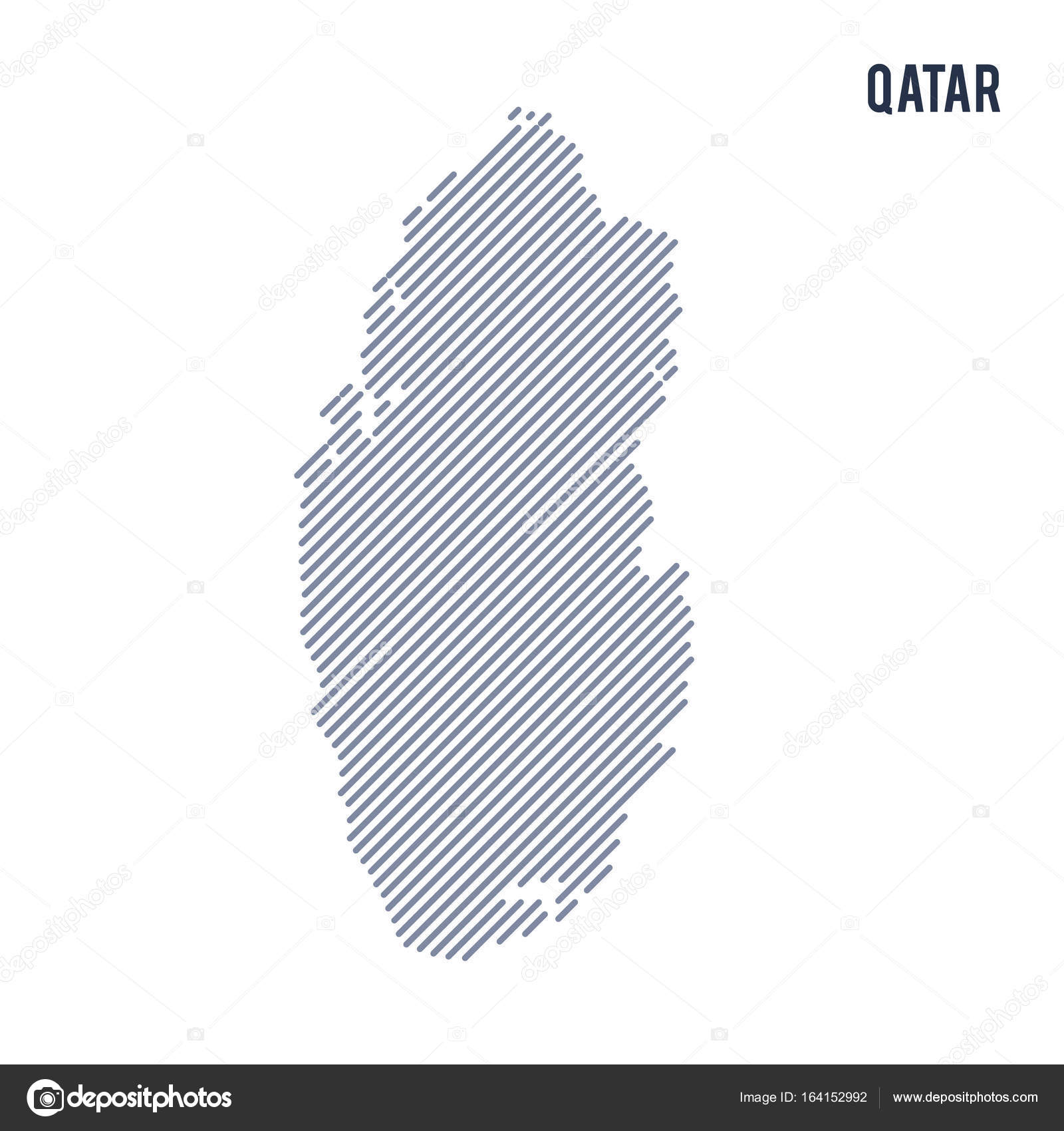 Vector Abstract Hatched Map Qatar Oblique Lines Isolated White