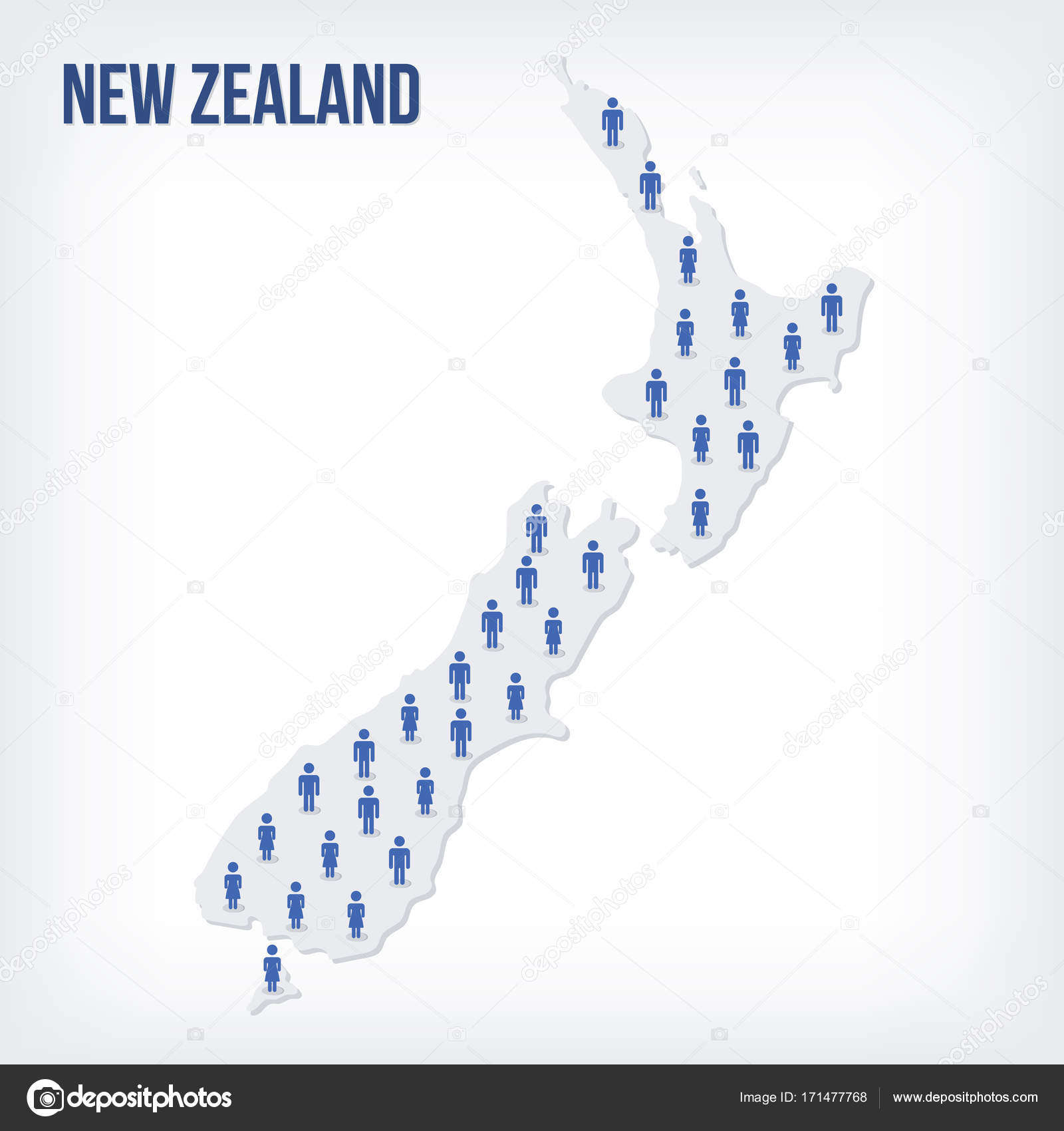 Population Concept Map.Vector People Map Of New Zealand The Concept Of Population