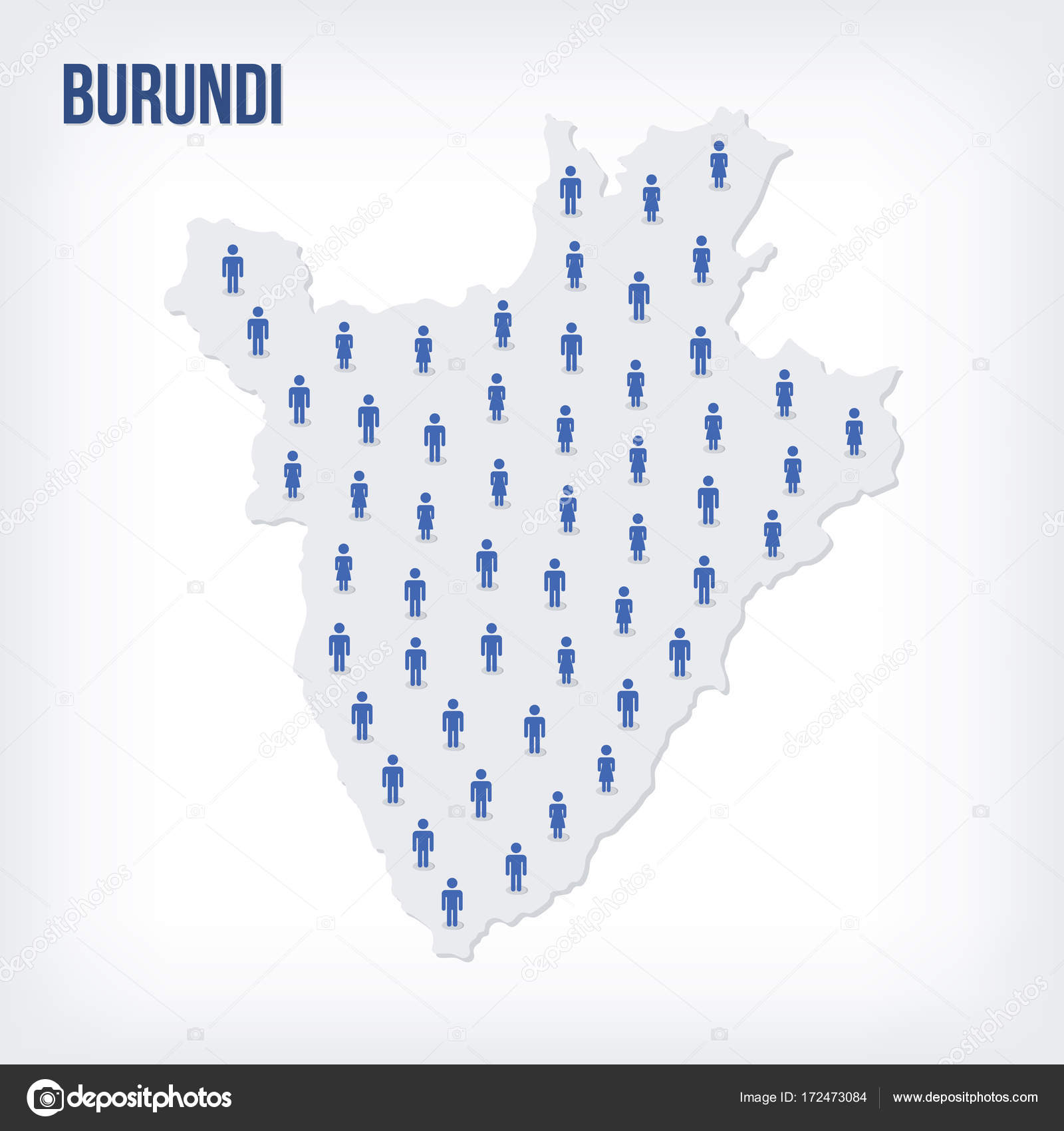 Population Concept Map.Vector People Map Of Burundi The Concept Of Population Stock