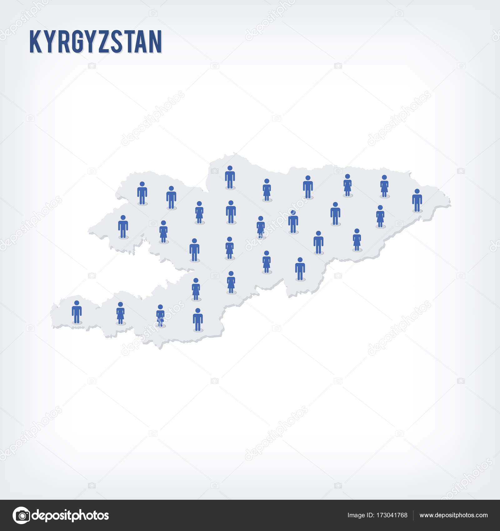 Population Concept Map.Vector People Map Of Kyrgyzstan The Concept Of Population Stock
