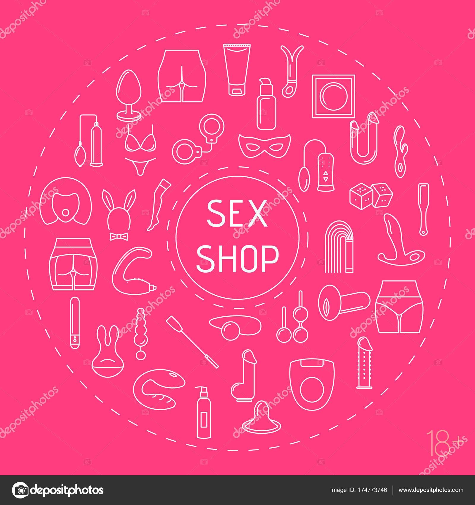Marco de círculo de estilo de línea con juguetes sexuales — Vector ...