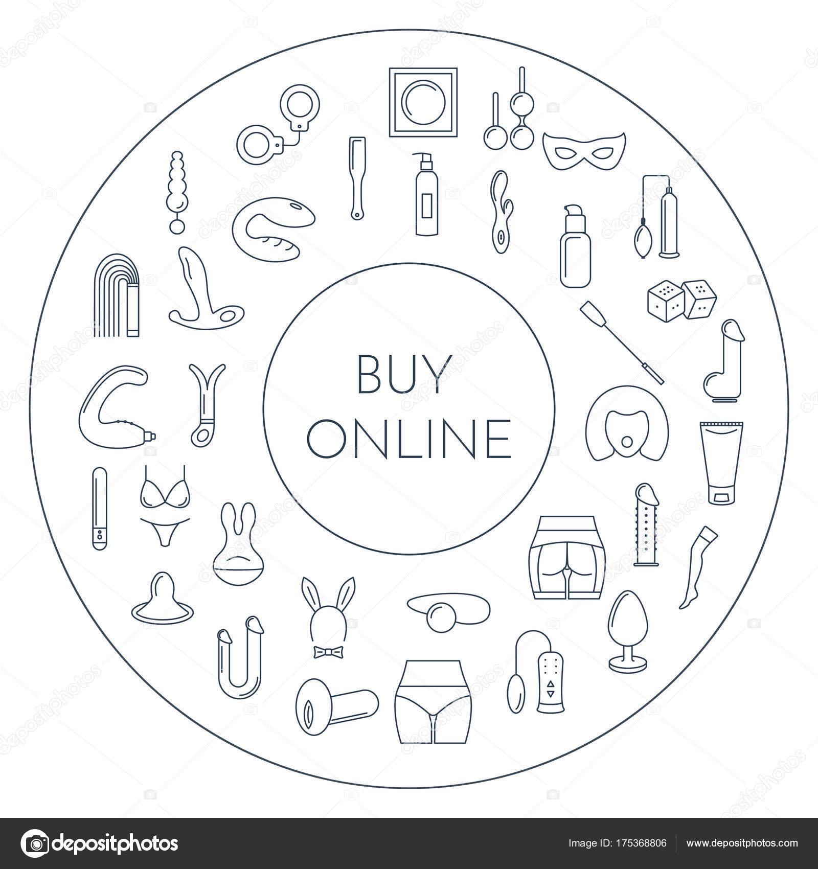Marco de círculo de estilo de línea con juguetes sexuales — Archivo ...