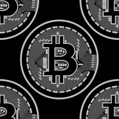 Vector seamless pattern with bitcoins.