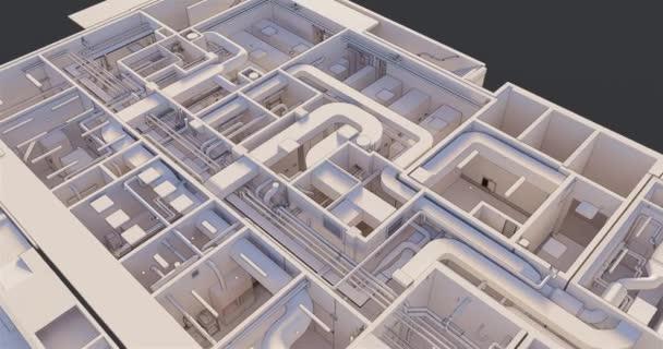 Draufsicht 3D-Bim-Modell des Grundrisses eines Gebäudes mit Versorgungseinrichtungen