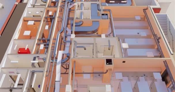 3D-Bim-Modell des Grundrisses eines Gebäudes mit Nebengebäuden