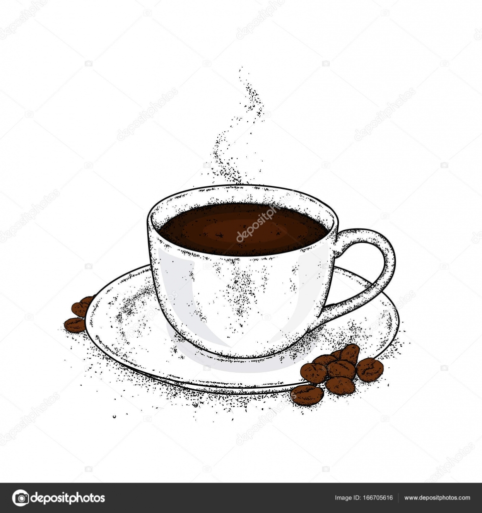 Beautiful Cup And Saucer Coffee In A Cup And Coffee Beans Vector Illustration Stock Vector C Juliagrin 166705616