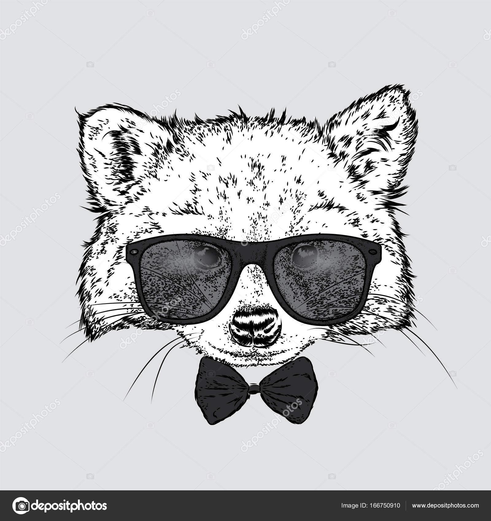 眼鏡とネクタイにかわいいアライグマ。ベクトル イラストはがきや