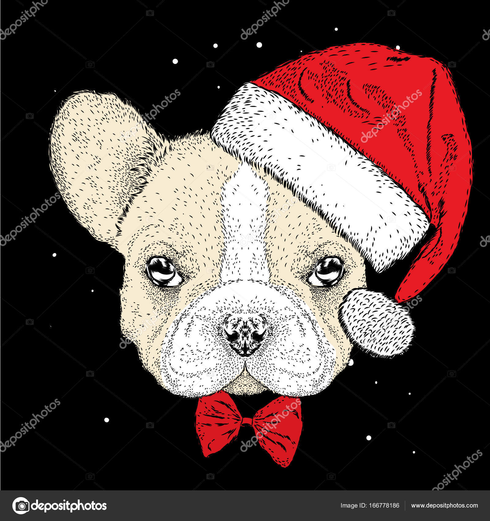 French bulldog in a Christmas hat. Cute puppy. New Year\'s and ...