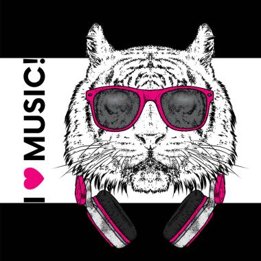 Tiger in glasses and headphones. Vector illustration. The animal is a hipster. Music, fashion and style. Print on clothes, postcard and printed products.