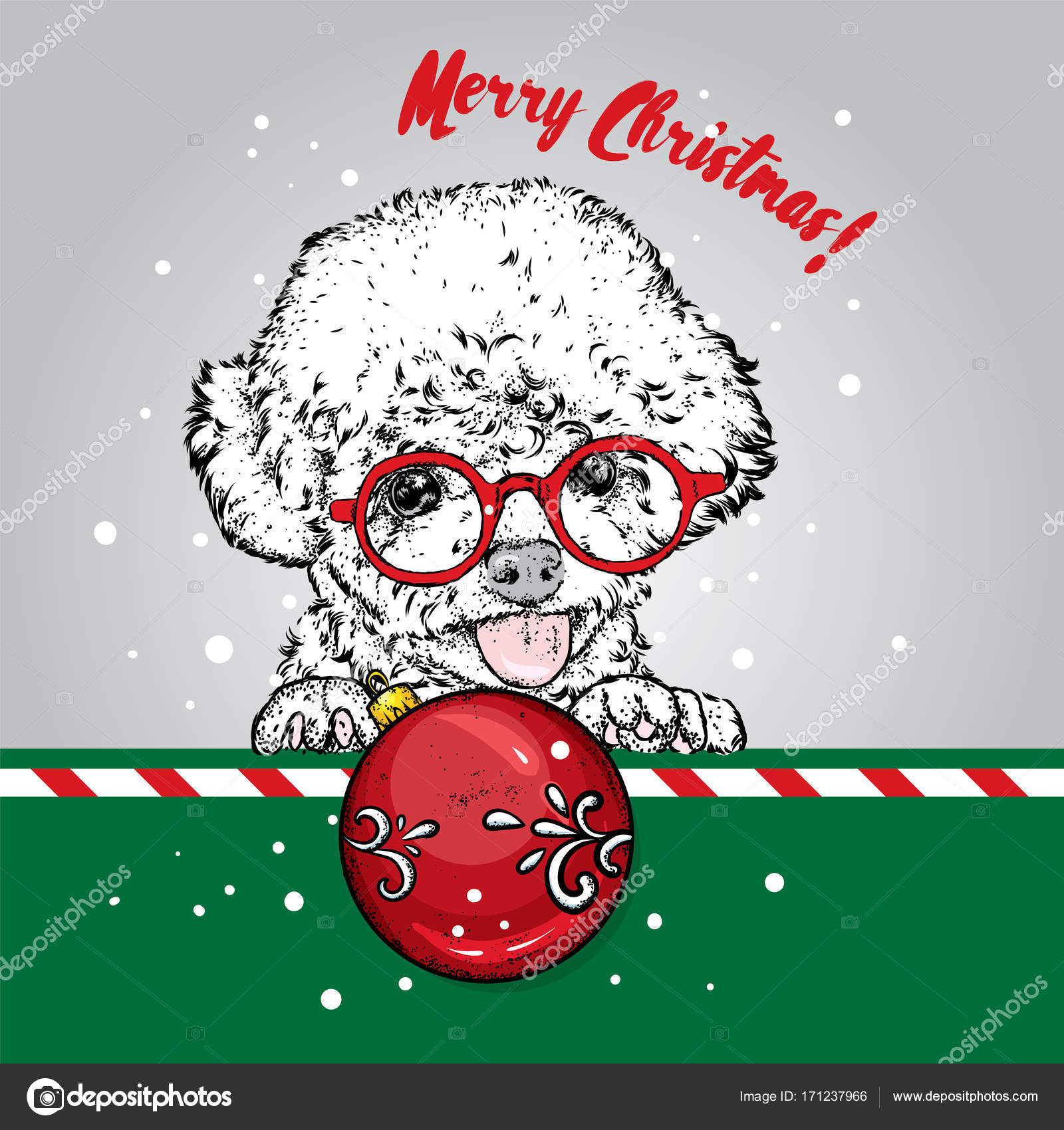 Funny poodle with a christmas ball new years and christmas vector funny poodle with a christmas ball new years and christmas vector illustration for a holiday greeting card or poster pedigree dog puppy m4hsunfo
