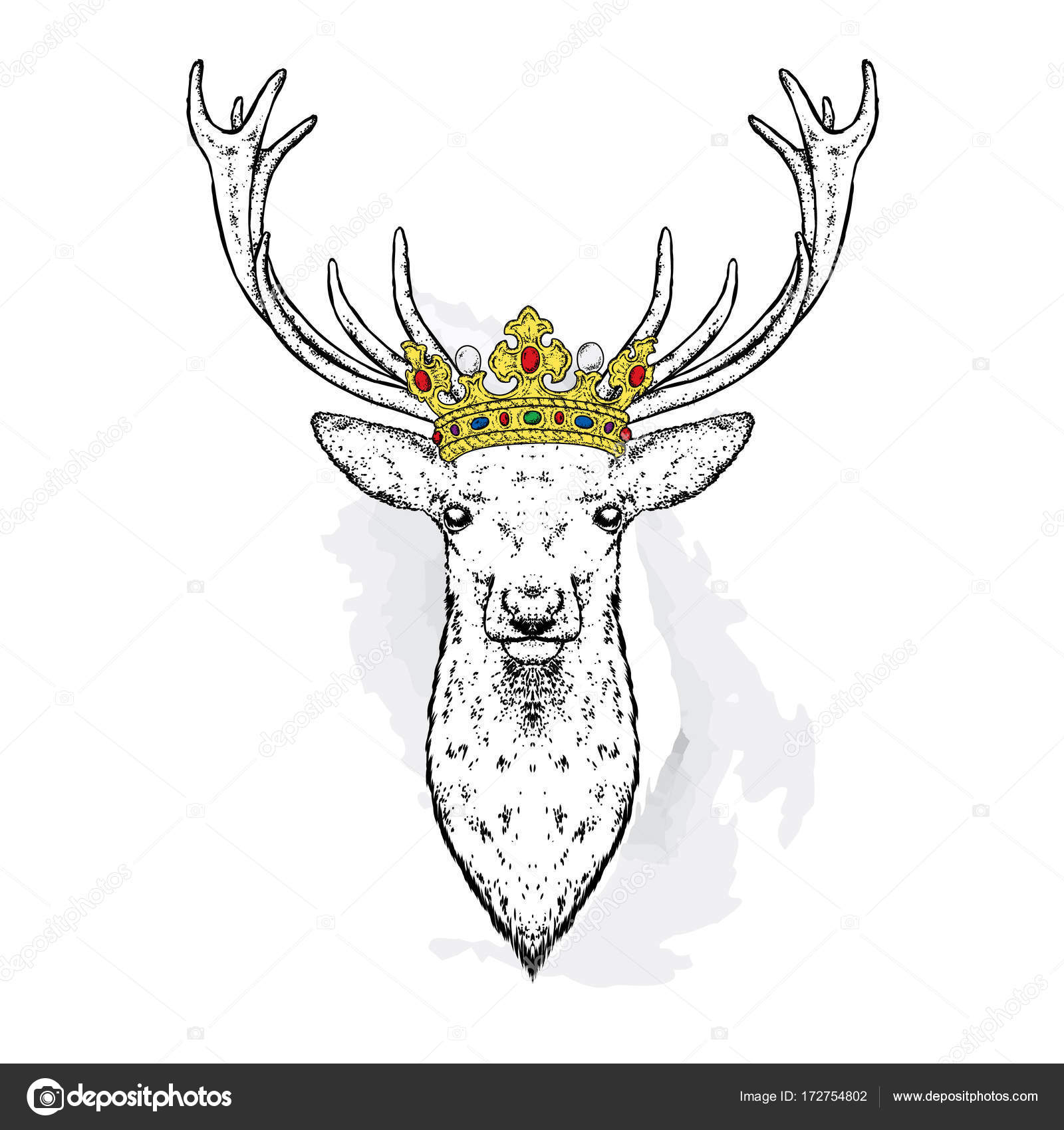 Beautiful Deer In The Crown Vector Illustration King Stock