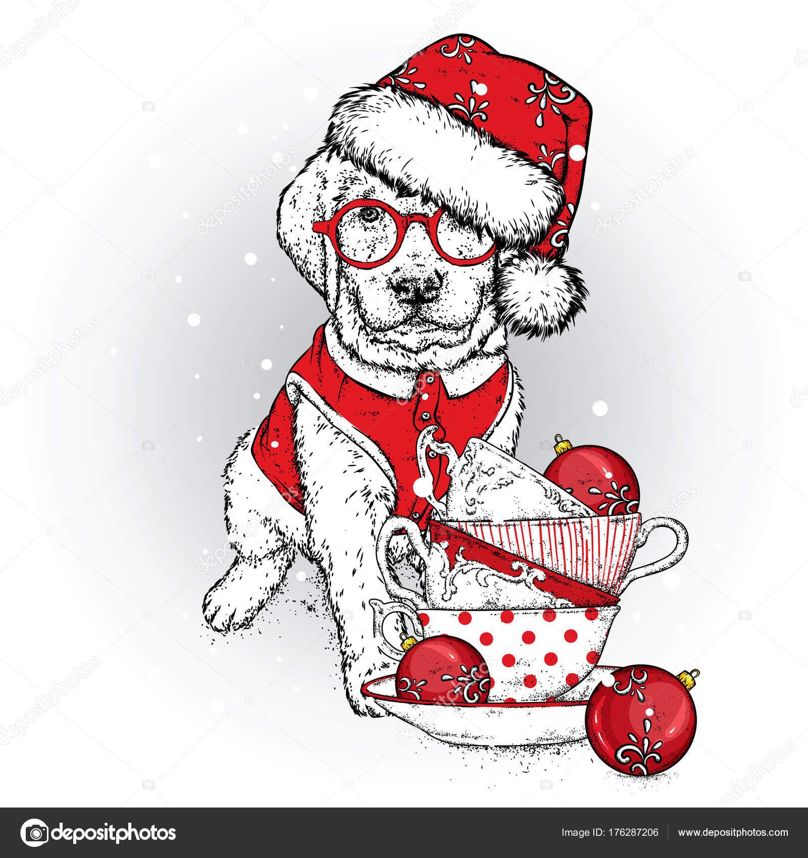 Hermoso Cachorro Gorra Gafas Año Nuevo Ilustración Vector Perro ...