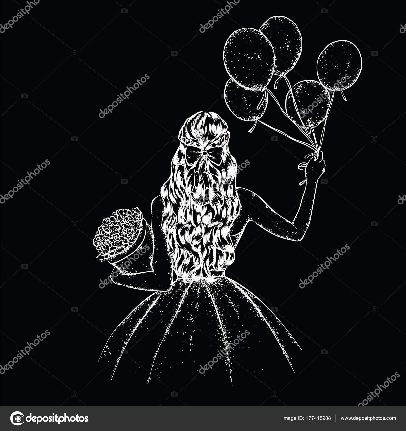 Una Chica Con Pelo Largo Bonito Vestido Globos Ramo Flores Archivo