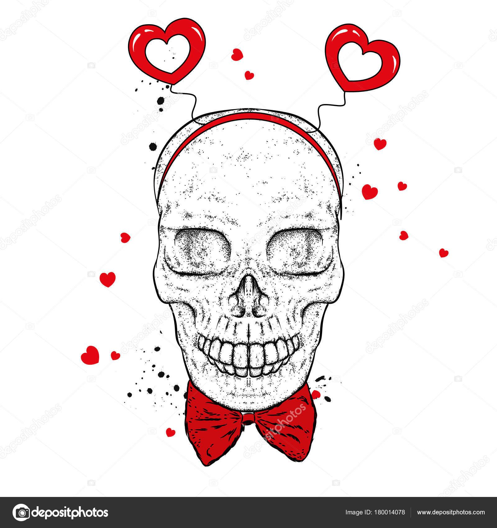 Dibujos Dia Del Amor Y La Amistad Cráneo Accesorios Con Corazones