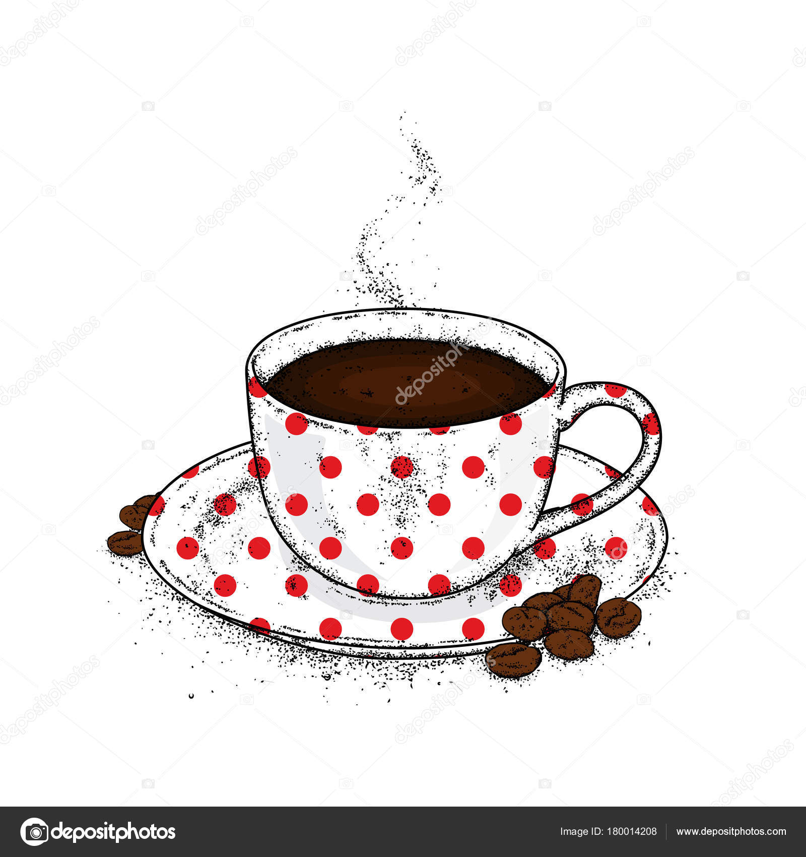 Beautiful Cup Saucer Coffee Cup Coffee Beans Vector Illustration Stock Vector C Juliagrin 180014208