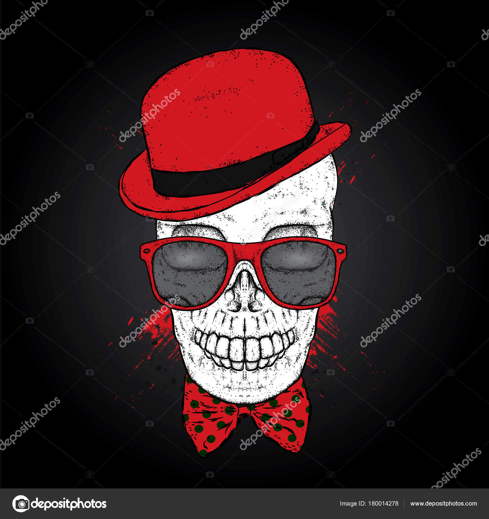 03eabe524 Skull in a hat, glasses and a tie. St.Patrick's day. Vector illustration  for a postcard or a poster, print for clothes.