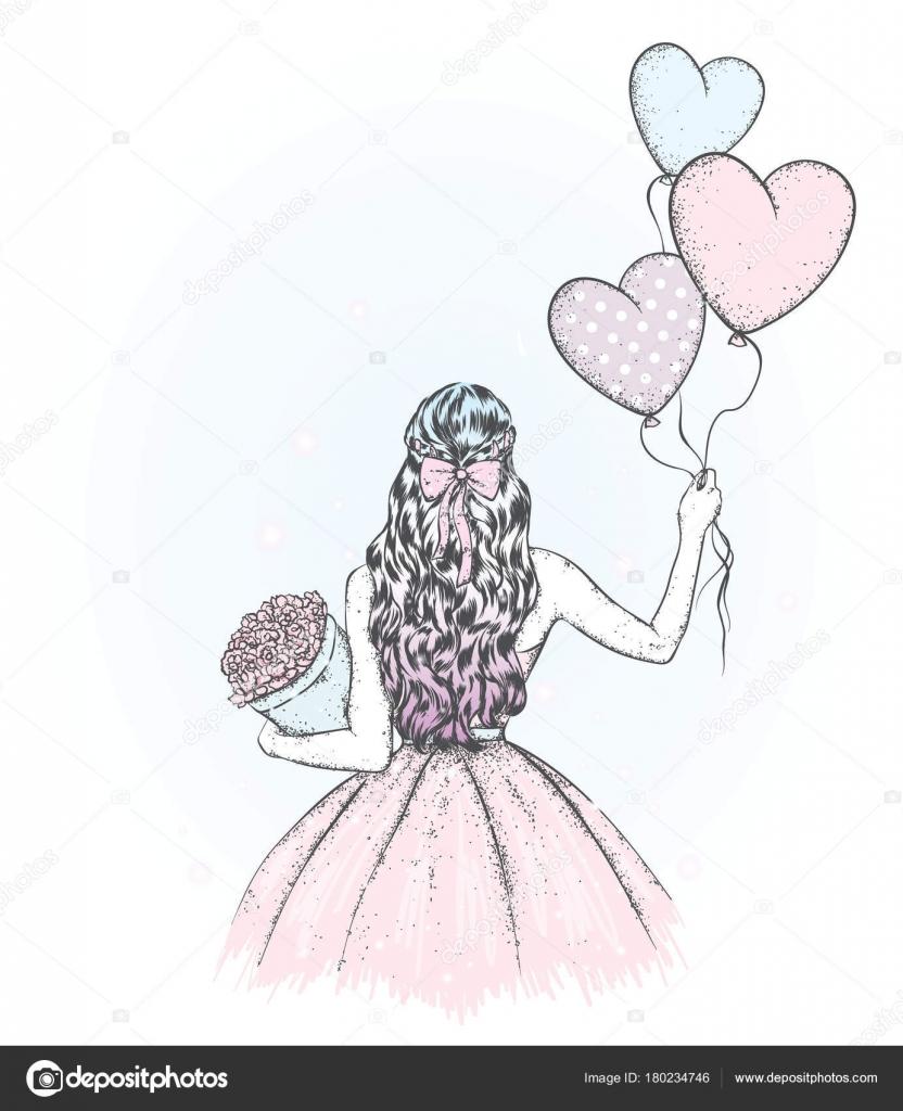 Una Chica Con Pelo Largo Bonito Vestido Globos Ramo Flores Vector