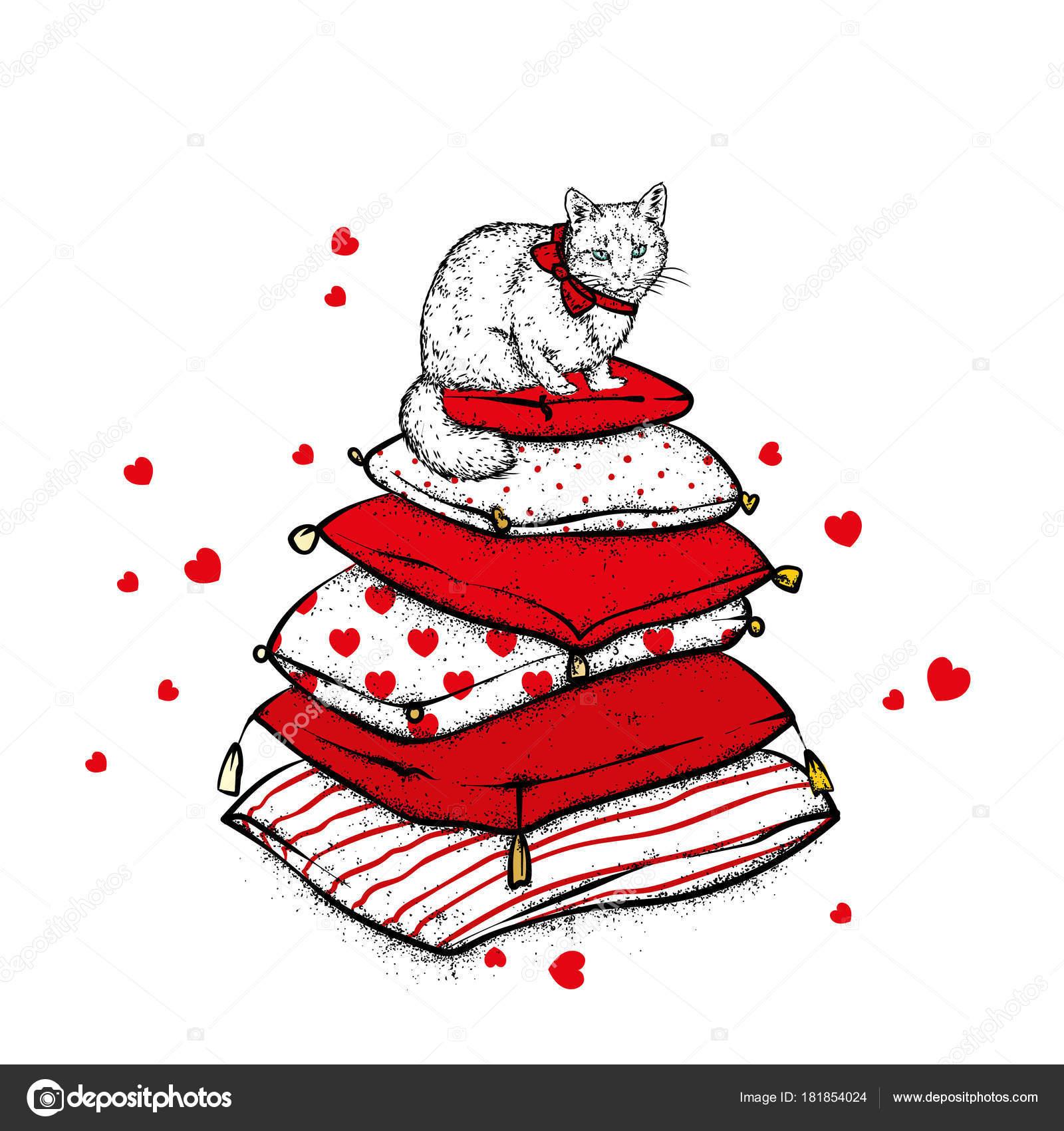 Imágenes Gato Amor Y Amistad Gato Las Almohadillas Con Corazones