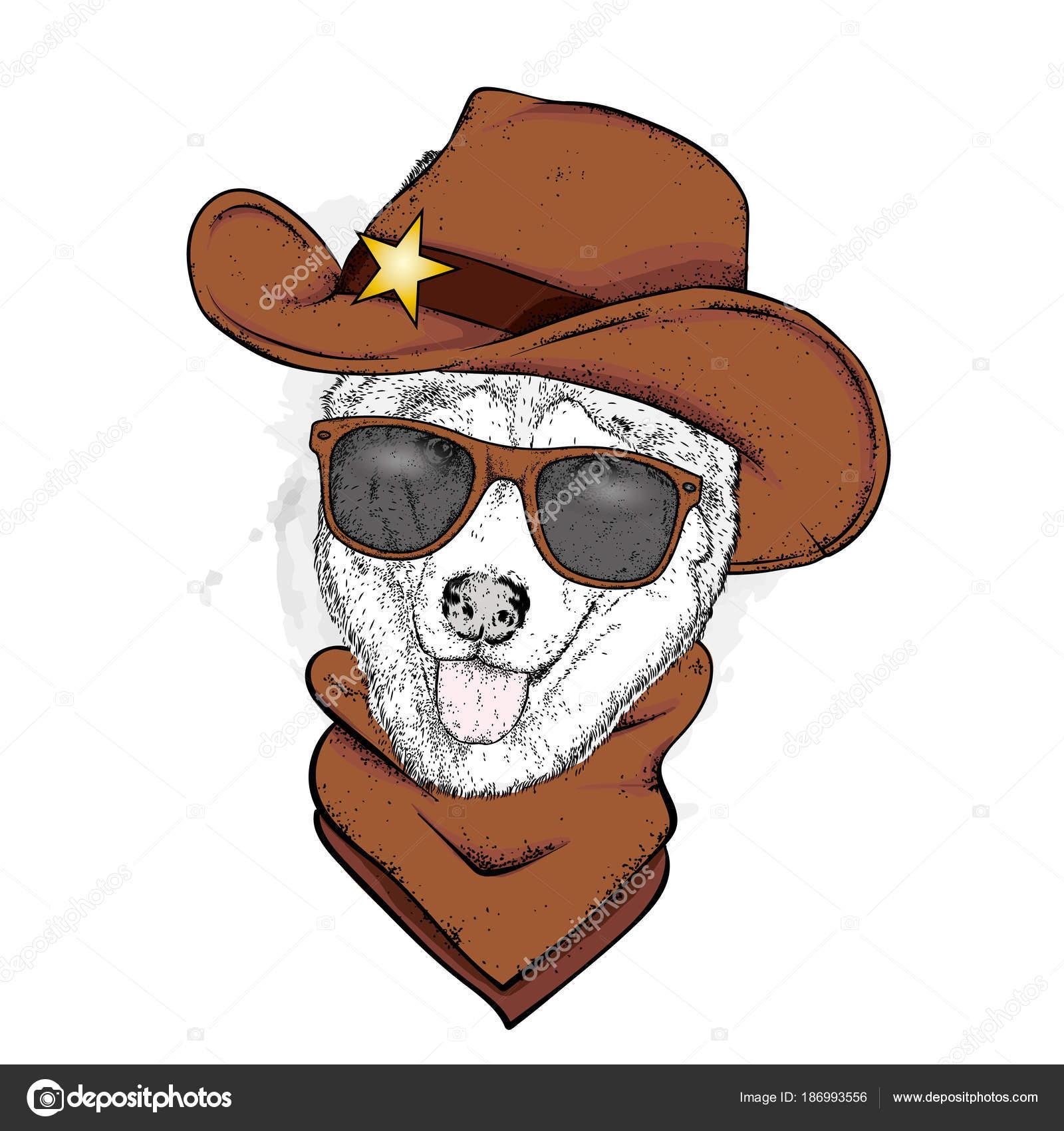 afbb5758640dc Un perro en un sombrero de vaquero y un pañuelo. Pura raza cachorro en ropa  y accesorios. Ilustración vectorial para una postal o un cartel.