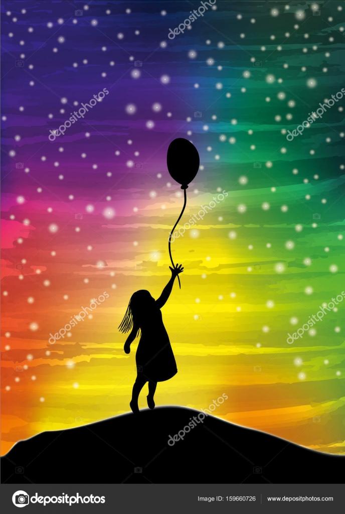 空に風船を持った女の子 ストックベクター Kytalpa 159660726