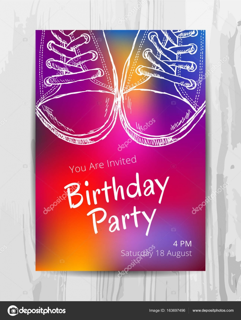 Birthday party invitation card Teenage party flyer Stock Vector