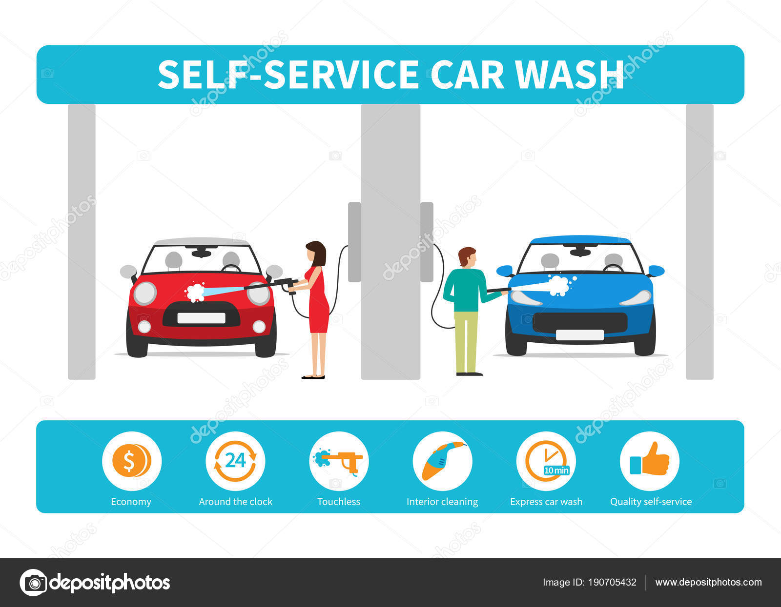 Business concept self service car wash stock vector anittafed business concept self service car wash vector infographics in a flat style vector by anittafed solutioingenieria Gallery