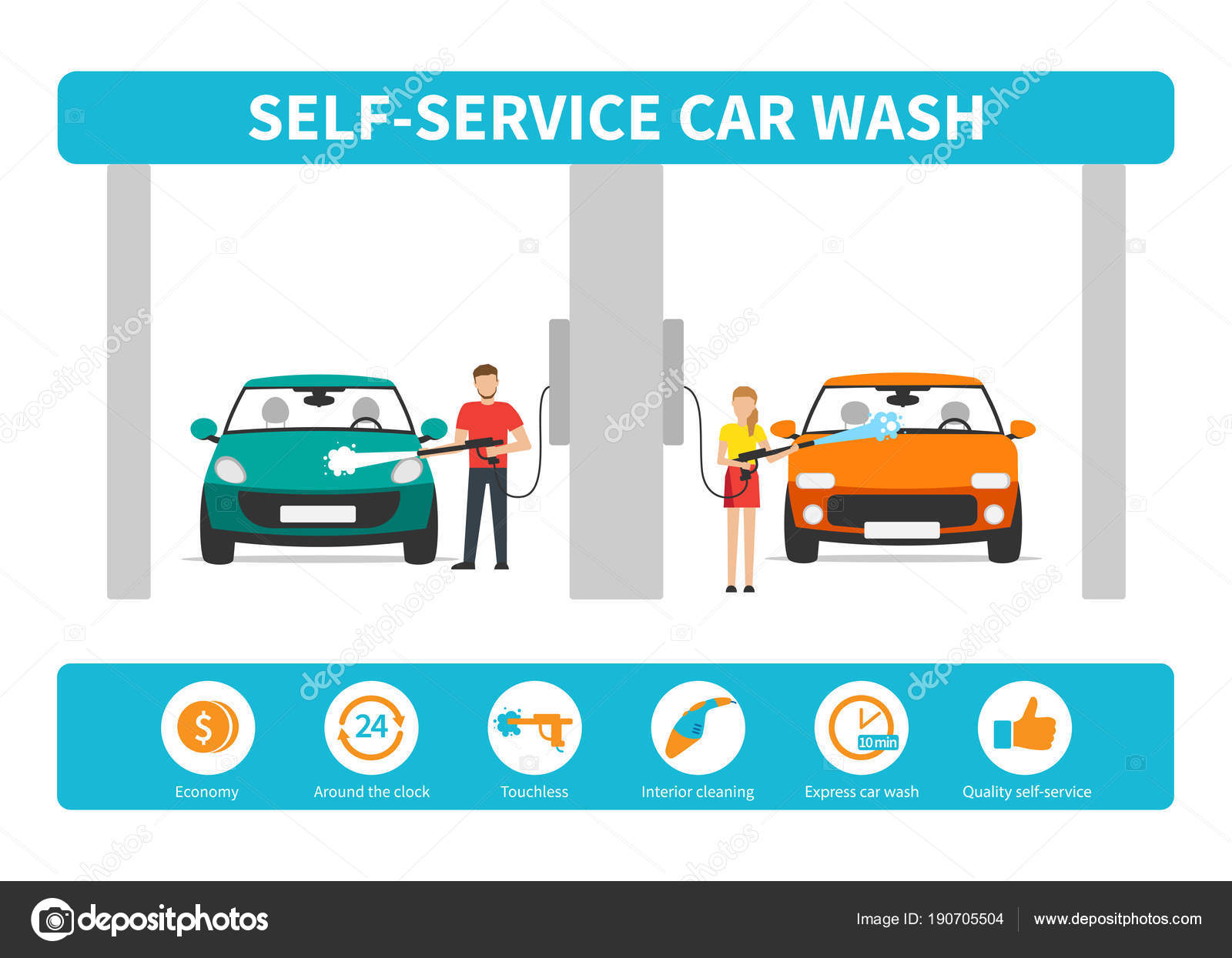 Innovative self service car wash infographics stock vector innovative self service car wash infographics vector by anittafed solutioingenieria Gallery