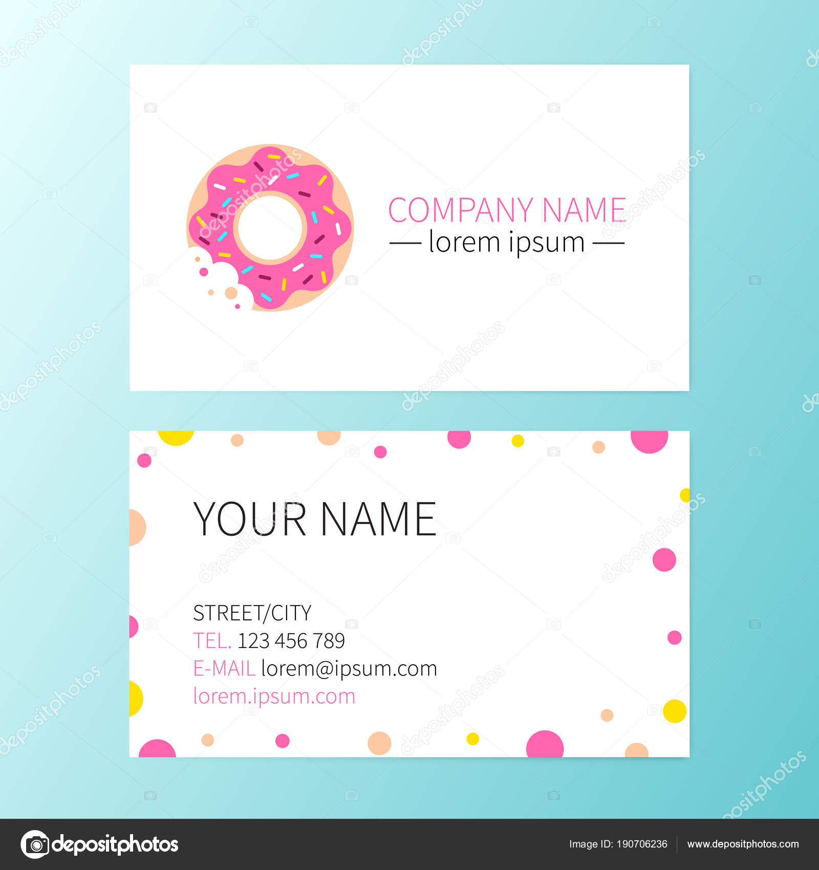 Vector Sweet Business Card Donut Cafe Shop Or Bakery Corporate