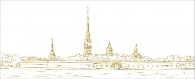 Peter and Paul Fortress. Symbol of Saint Petersburg, Russia. Hand drawn vector illustration. Gold outline. Isolated background