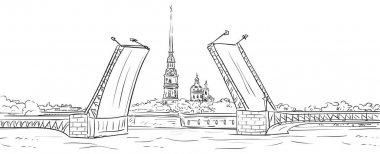 Peter and Paul Fortress. Drawbridge, symbol of Saint Petersburg,