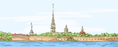 Peter and Paul Fortress. Symbol of Saint Petersburg, Russia. Hand drawn colorful vector illustration. clip art vector