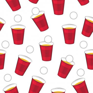 Beer pong vector pattern. Red plastic cups and ping pong ball