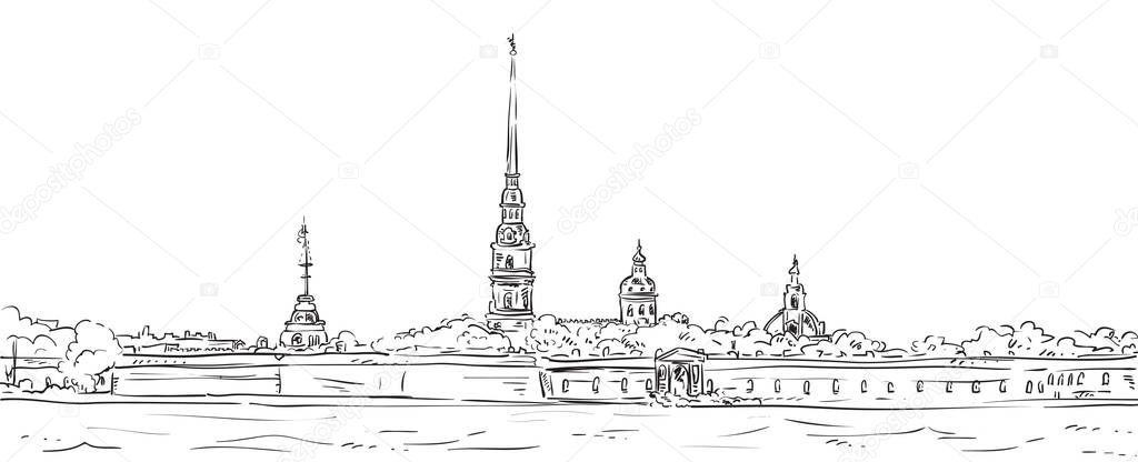 Петропавловская крепость картинки карандашом