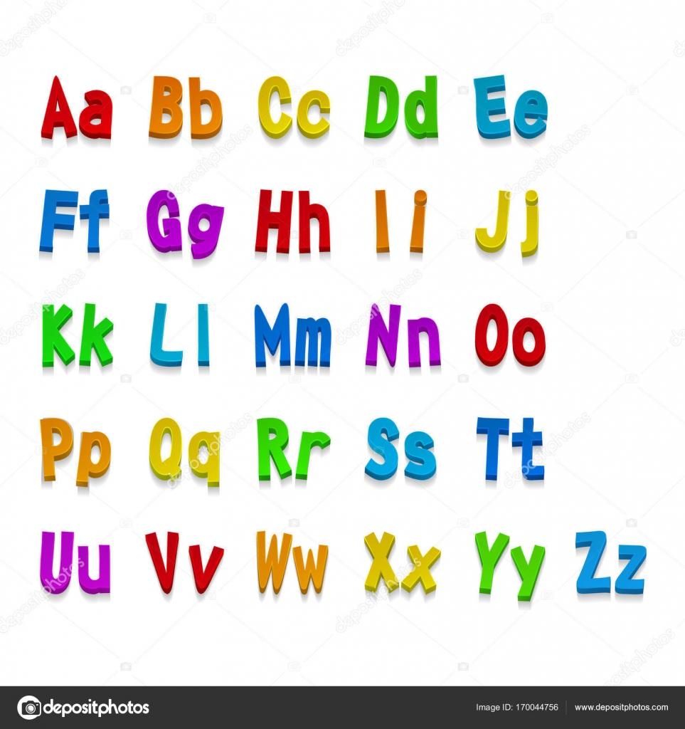 利用可能なマルチカラーの 3 d フォントのすべての文字 ベクトル図