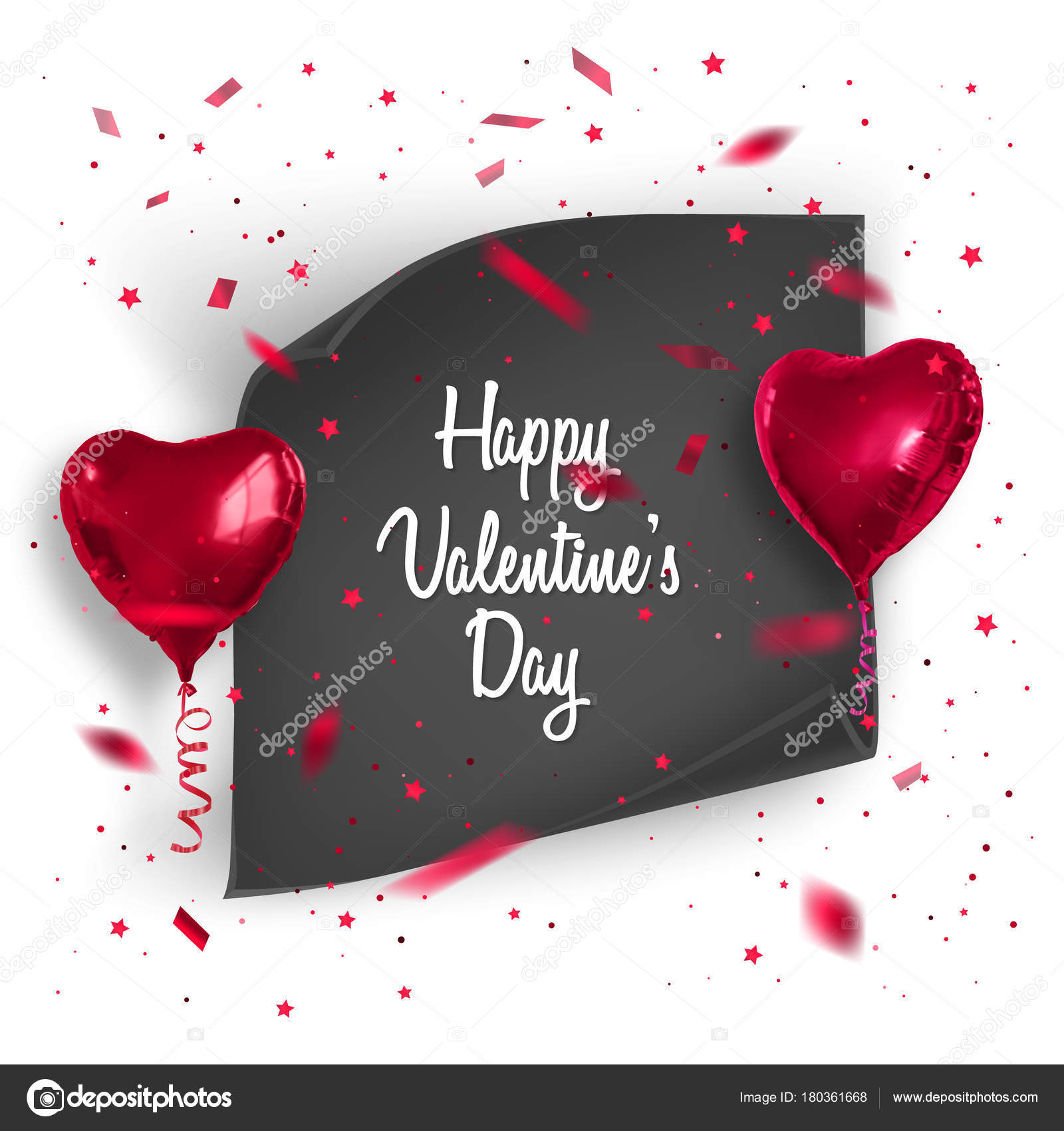 valentines day card background with confetti and realistic balloons