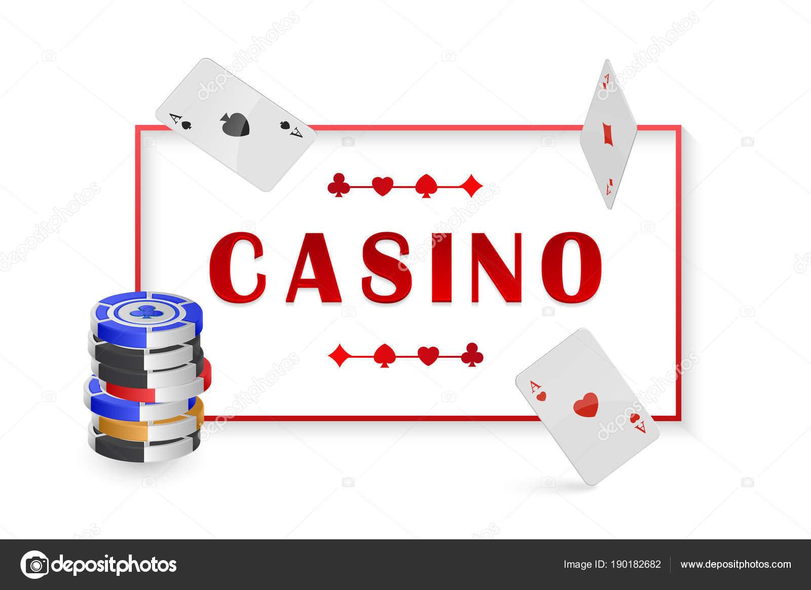 Vector ilustración con Chip y tarjetas de poker, casino. cartel con ...